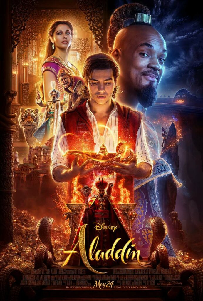 The film features Aladdin, who expresses his affection for Princess Jasmine, becomes buddies with a wish-granting Genie, and fights with Jafar, who is wicked.